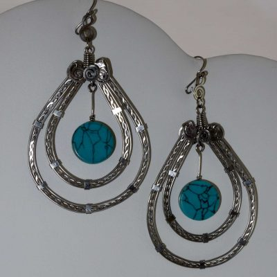 Turquoise Teardrop Earrings -- wire wrapped earrings with a turquoise stone in the shape of a teardrop