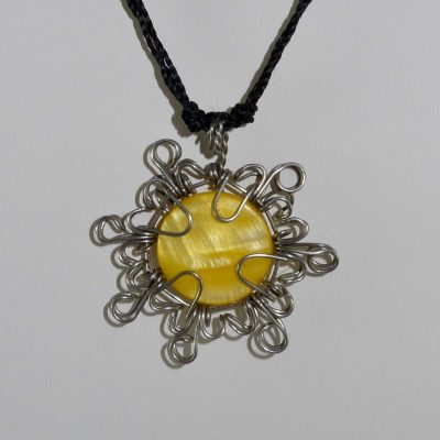 Tribal Sun Necklace - Wire Wrapped Yellow Stone