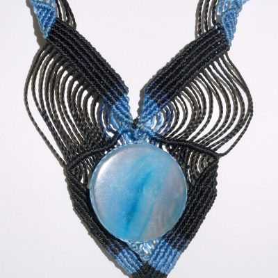 Black and Blue with Blue Stone Macrame Necklace