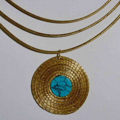 Capim Dourado (Golden Grass) Turquoise Pendant Choker