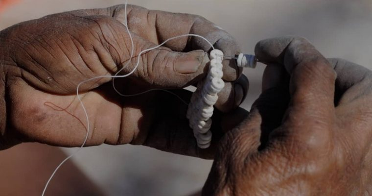 Woman making handicrafts