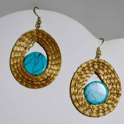 Capim Dourado (Golden Grass) Turquoise Pendant Earrings