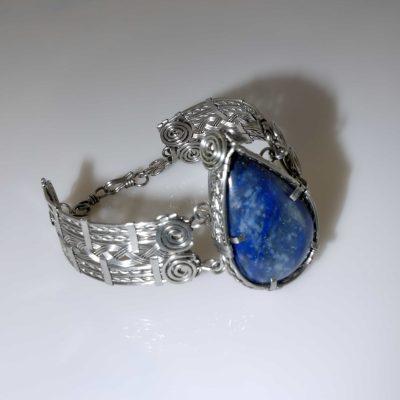 Wire Wrapped Blue Stone Statement Bracelet